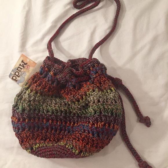 Mudd Bags Nwt Multicolor Boho Crocheted Drawstring Bag Poshmark